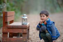 誠悟くん、智光山公園、ベンチにランプ